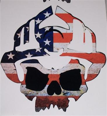 Firefighter American Flag Skull Decal