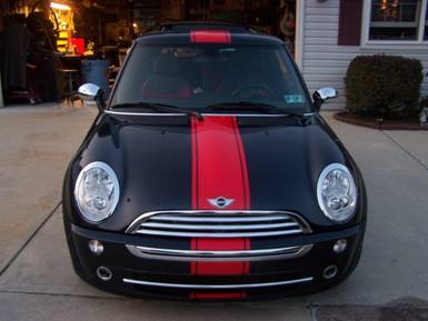 Black Mini Cooper W Red 12 Single Wide Hood Roof And Boot Stripe
